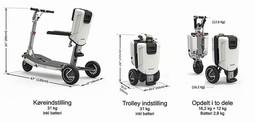 ATTO mobil elscooter - køreindstilling, trolleyindstilling og opdelt i to dele - PM Elscooter