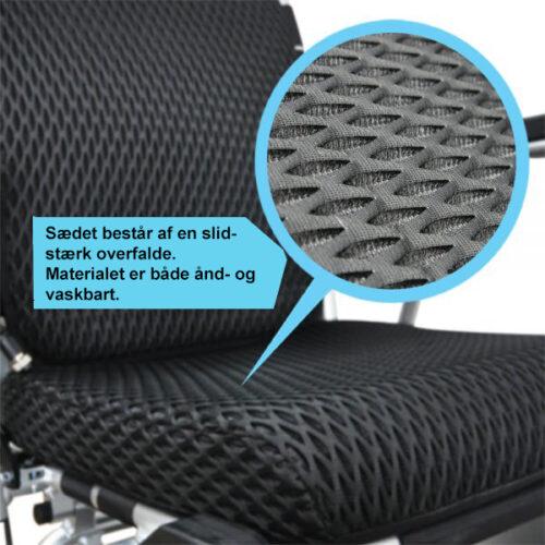 Slidstærkt sædemateriale - PW999 fleksibel el-kørestol (leje) - PM HelpCare